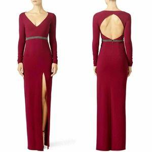 Nicole Miller Red Berry Column Gown 4 Rhinestone
